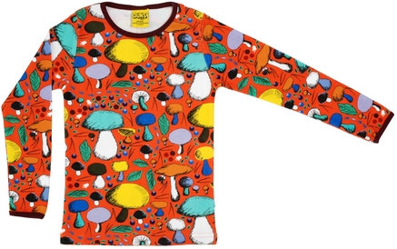 DUNS Sweden organic Long Sleeve Top Mushroom Forest | Dark Orange
