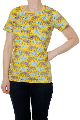 DUNS Sweden organic Adult Short Sleeve Top Elephant Walk | Yellow