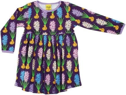DUNS Sweden organic Long Sleeve gathered Dress Hyacinth | Dark Purple