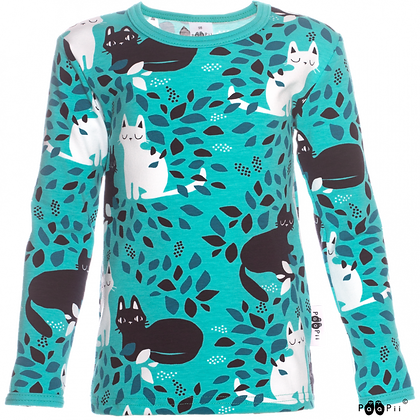 PaaPii ULJAS organic Long Sleeve Top, Hide and Seek | Turquoise and Petrol