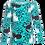 Thumbnail: PaaPii ULJAS organic Long Sleeve Top, Hide and Seek   Turquoise and Petrol