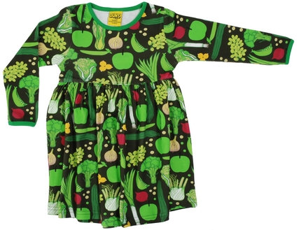 DUNS Sweden organic Long Sleeve gathered Dress | Eat Your Greens