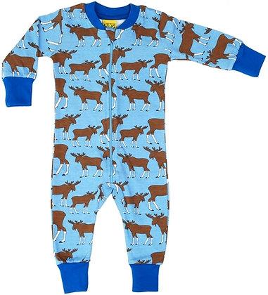 DUNS Sweden organic Zip Suit Moose   Blue