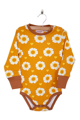MOROMINI organic Long Sleeve Bodysuit | 70's Flower