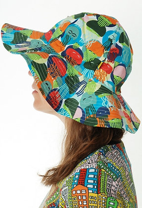 DUNS organic Woven Sunhat with Wide Brim Jellyfish | Green and Blue