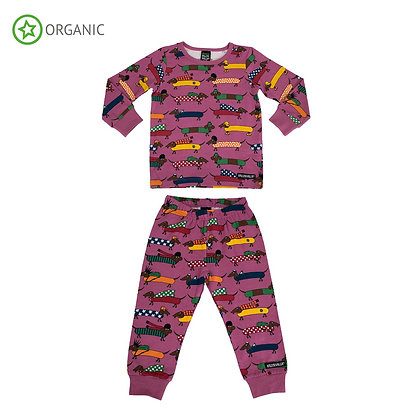 VILLERVALLA organic Pyjama Set Long Sleeve | Dachshund Smoothie