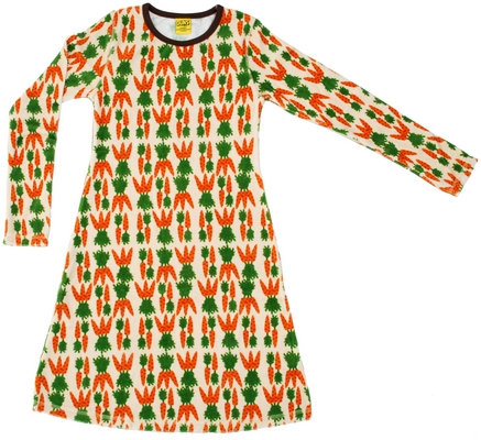DUNS Sweden organic Long Sleeve Dress | Carrot (VELOUR)