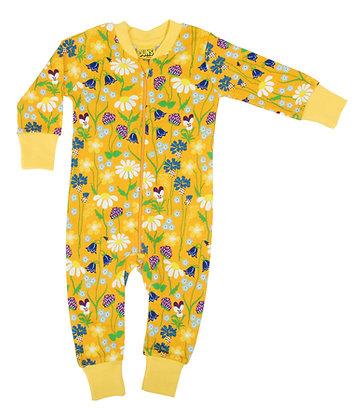 DUNS Sweden organic Zip Suit Midsummer Flowers | Yellow