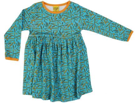 DUNS Sweden organic Long Sleeve gathered Dress Pencils | Turquoise