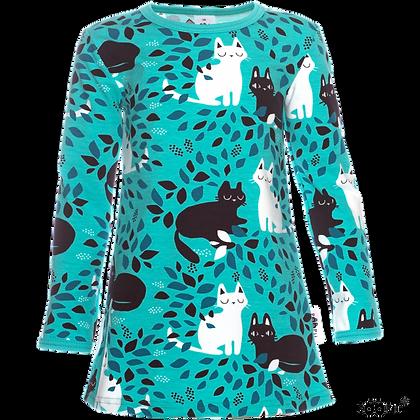 PaaPii VIENO organic Long Sleeve Tunic, Hide and Seek | Turquoise and Petrol
