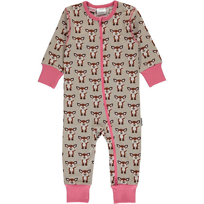 MAXOMORRA organic Long Sleeve Rompersuit with Zip | Fawn