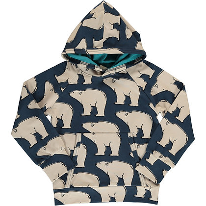 MAXOMORRA organic Long Sleeve Hoodie SWEAT | Polar Bear