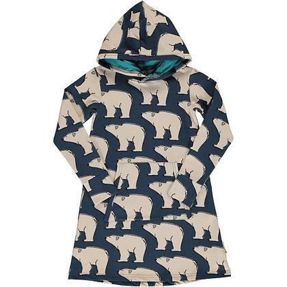 MAXOMORRA organic Long Sleeve Dress Hoodie Sweat | Polar Bear