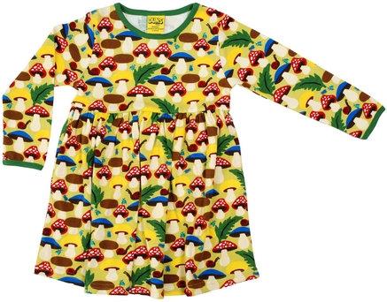 DUNS Sweden organic Long Sleeve gathered Dress Mushrooms | Green