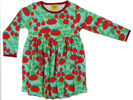 DUNS Sweden organic Long Sleeve gathered Dress Growing Tomatoes | Turquoise
