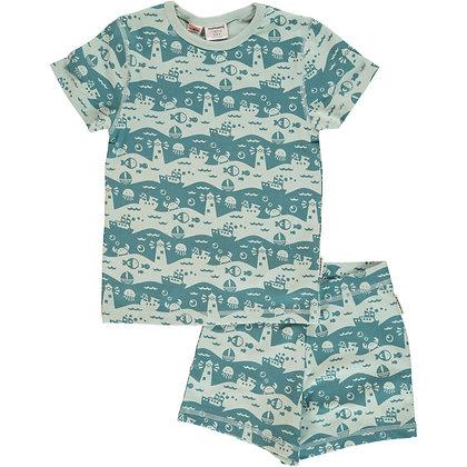 MAXOMORRA organic Pyjama Set Short Sleeve | Ocean Landscape