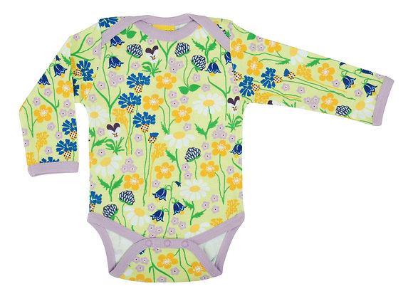 DUNS Sweden organic Long Sleeve Lapneck Body Midsummer Flowers | Green