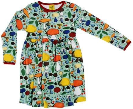 DUNS Sweden organic Long Sleeve gathered Dress Mushroom Forest | Jade