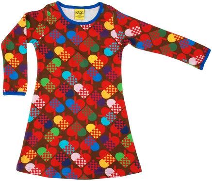 DUNS Sweden organic Long Sleeve Dress Hearts   Brown