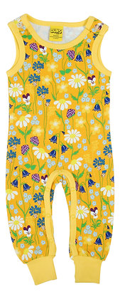 DUNS Sweden organic Dungarees Midsummer Flowers | Yellow