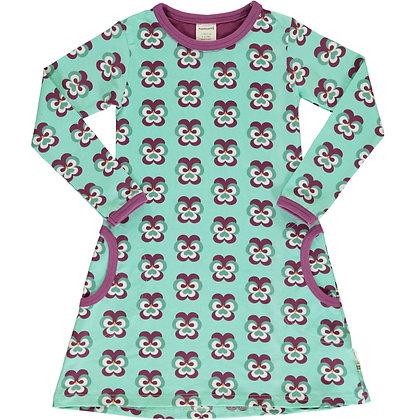 MAXOMORRA organic Long Sleeve Dress | Purple Pansy