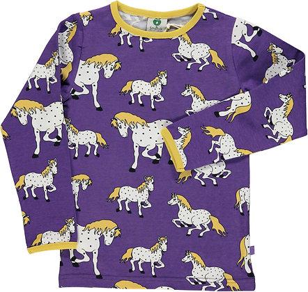SMAFOLK organic Long Sleeve Top, Horses | Imperial Purple