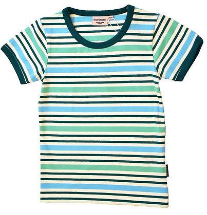MOROMINI organic Short Sleeve Top | Blue Stripes