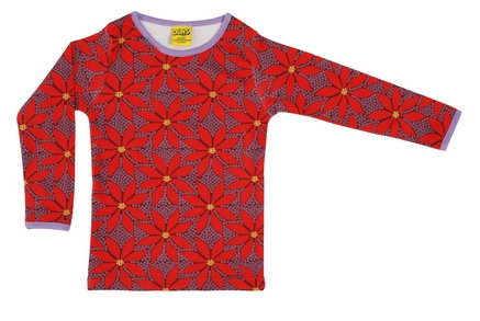 DUNS Sweden organic Long Sleeve Top Poinsettia | Wine