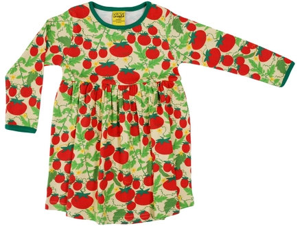 DUNS Sweden organic Long Sleeve gathered Dress Growing Tomatoes | Pale Yellow