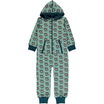 MAXOMORRA organic One Piece Suit with Hood | Raccoon