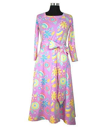 MOROMINI Ladies Square Neck Dress | Mumbai Flower Market Pink