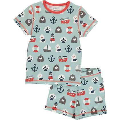 MAXOMORRA organic Pyjama Set Short Sleeve | Blue Ocean