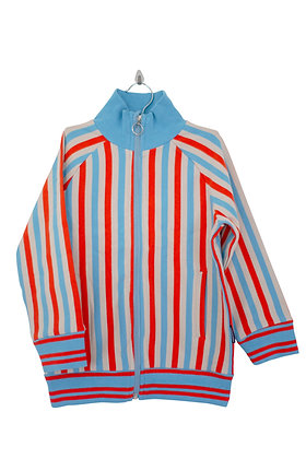 MOROMINI organic Zip Suit Jacket Striped   Orange, Blue, Eggshell