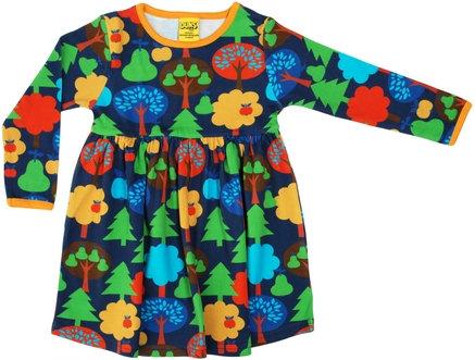 DUNS Sweden organic Long Sleeve gathered Dress Fruit Garden | Dark Blue