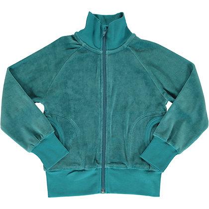 MAXOMORRA organic Cardigan Zip VELOUR | Arctic Blue