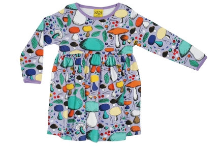 DUNS Sweden organic Adult Long Sleeve gathered Dress Mushroom Forest | Violet