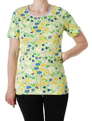 DUNS Sweden organic Adult Short Sleeve Top Midsummer Flowers | Green