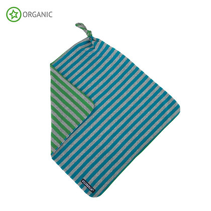 VILLERVALLA organic Striped Baby Blanket | Atlantic/Clover