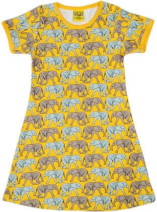 DUNS Sweden organic Short Sleeve Dress Elephant Walk   Yellow