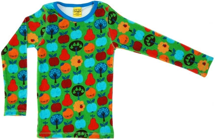 DUNS Sweden organic Long Sleeve Top Fruit Garden | Green (VELOUR)