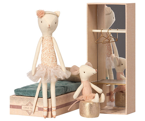 MAILEG Dancing Cat and Mouse in shoebox
