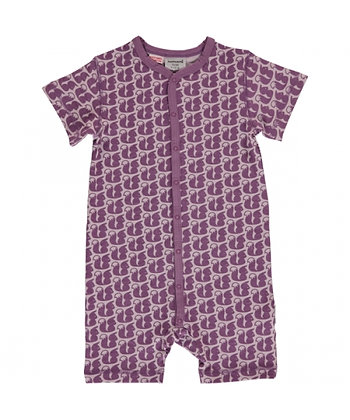 MAXOMORRA organic Short Sleeve Rompersuit with Buttons | Squirrel