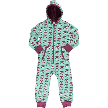 MAXOMORRA organic One Piece Suit with Hood | Purple Pansy