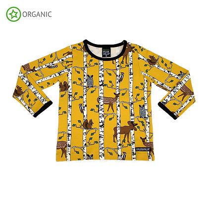 VILLERVALLA organic Long Sleeve Top Birch Animals | Mustard