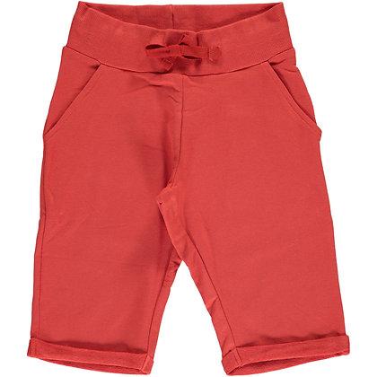 MAXOMORRA organic Sweatshorts Knee | Rusty Red