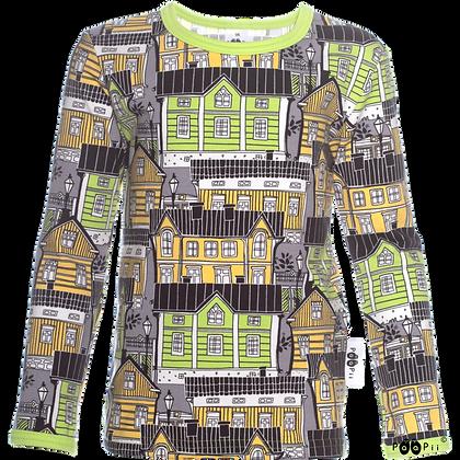 PaaPii ULJAS organic Long Sleeve Top, Old Town | Apple and Yellow