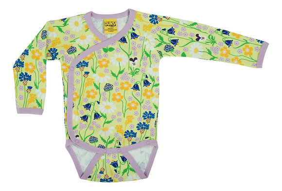 DUNS Sweden organic Long Sleeve Kimono Body Midsummer Flowers | Green