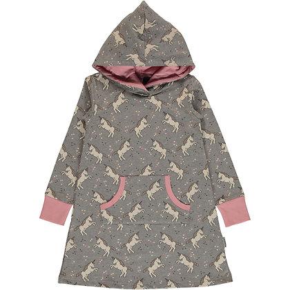 MAXOMORRA organic Long Sleeve Dress Hoodie Sweat | Unicorn Dreams