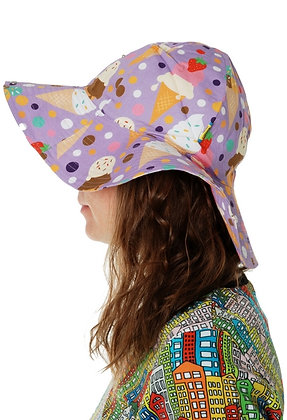 DUNS organic Woven Sunhat with Wide Brim Ice Cream   Lavender