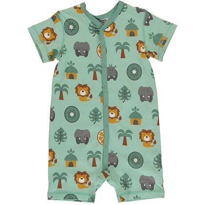MAXOMORRA organic Short Sleeve Rompersuit with Buttons | Jungle